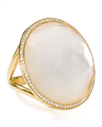 18k Gold Rock Candy Large Lollipop Diamond Mother-of-Pearl Ring