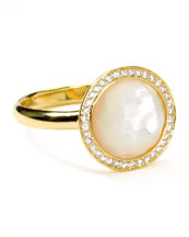Ippolita 18k Gold Rock Candy Mini Lollipop Diamond Mother-of-Pearl Ring