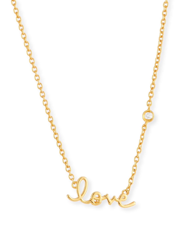 SHY by SE Love Pendant Bezel Diamond Necklace, GOLD