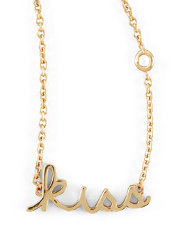 SHY by Sydney Evan Kiss Word Diamond-Detail Gold-Plate Necklace