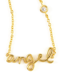 SHY by Sydney Evan Angel Word Diamond-Detail Gold-Plate Necklace