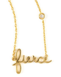 Fierce Word Diamond-Detail Gold-Plate Necklace