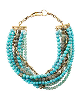 Paige Novick Julie 7-Strand Beaded Necklace, Turquoise