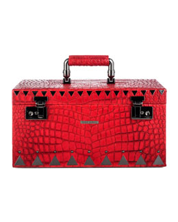 Eddie Borgo Crocodile-Embossed Jewelry Box, Red