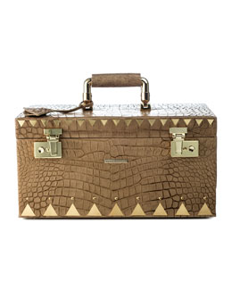 Eddie Borgo Crocodile-Embossed Jewelry Box, Brown