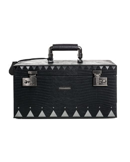 Eddie Borgo Crocodile-Embossed Jewelry Box, Black