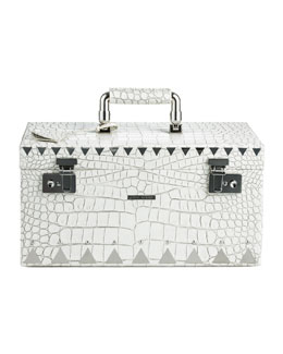 Eddie Borgo Crocodile-Embossed Jewelry Box, White