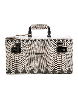 Eddie Borgo Snake-Embossed Jewelry Box, Black/White