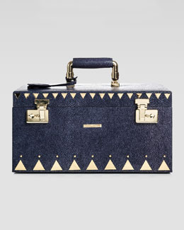 Eddie Borgo Stingray-Embossed Jewelry Box, Navy