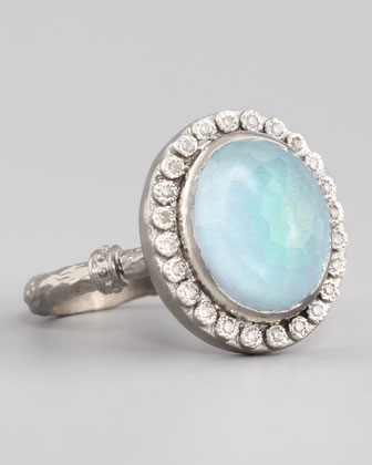 New World Opal & Blue Topaz Ring