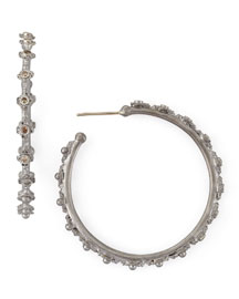 New World Mini-Cross Diamond Hoop Earrings
