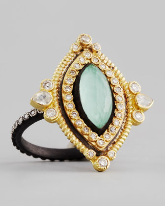 Marquise Green Turquoise & Diamond Ring