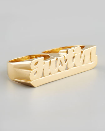 Double-Finger 18k Gold Vermeil Cursive Name Ring