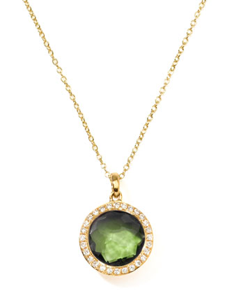 Rock Candy 18k Gold Mini Lollipop Necklace in Peridot & Diamond