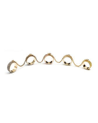 Pave Crystal Five-Finger Rings
