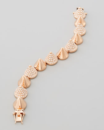 Alternating-Pave Cone Bracelet, Rose Gold