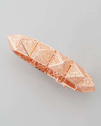 Large Pave Pyramid Bracelet, Rose Gold