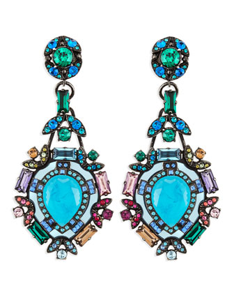Multicolor Crystal Clip Earrings