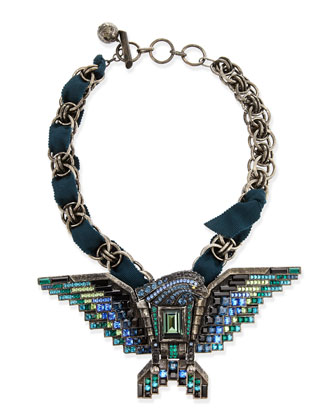 Short Crystal Eagle Necklace, Teal
