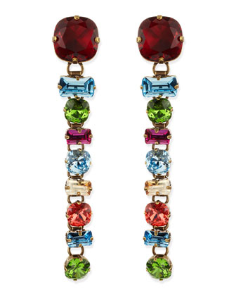 Multicolor Crystal Drop Clip-On Earrings