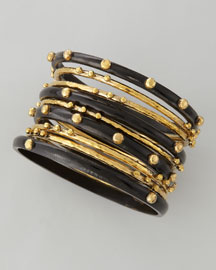 Shaba Bangle Set, Dark Horn