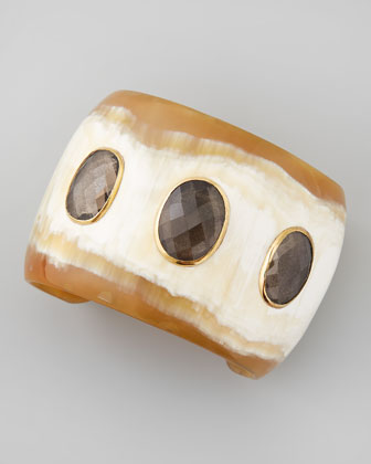 Rangi Smoky Quartz Cuff, Light Horn