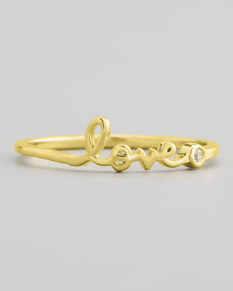 Bezel Diamond Love Ring, Yellow Gold