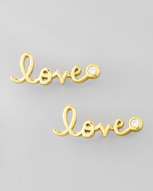 Diamond-Bezel Love Stud Earrings, Yellow Gold