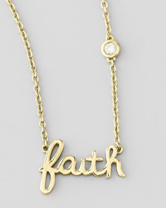 Faith Necklace with Diamond, Golden