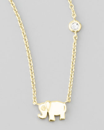 Elephant Pendant Necklace with Diamond, Golden
