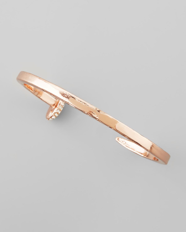 Giles & Brother Skinny Crystal Railroad Spike Bracelet, Rose Golden