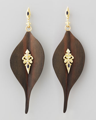 Ebony Wood Diamond Fleur-de-Lis Earrings