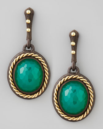 Midnight Oval Green Onyx Drop Earrings