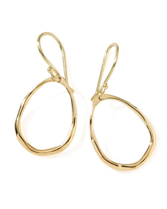 18K Gold Mini Squiggle Open Teardrop Earrings