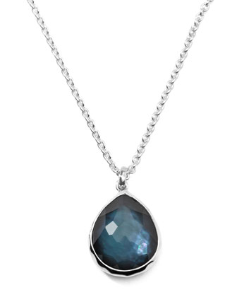 Wonderland Silver Mini Teardrop Necklace in Indigo