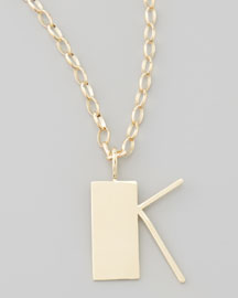 Letter Charm Necklace, K