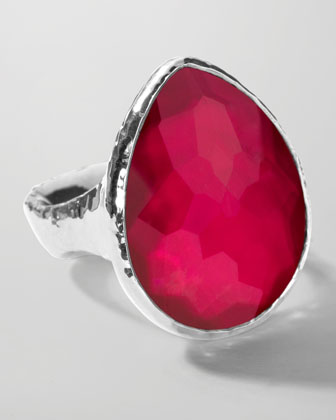 Sterling Silver Wonderland Teardrop Ring in Raspberry