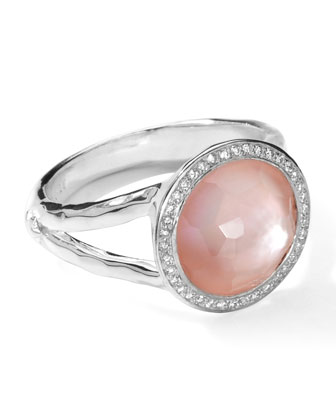 Stella Mini Lollipop Ring in Pink Mother-of-Pearl Doublet & Diamonds, 0.15