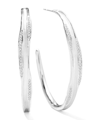 Sterling Silver Venezia Links #3 Hoop Earrings with Diamonds