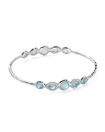 Stella Sterling Silver 10-Doublet Bangle in Swiss Blue Topaz & Diamonds