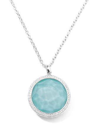 Stella Large Lollipop Necklace in Turquoise & Diamonds 16-18