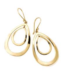18K Gold Open Double Teardrop Earrings
