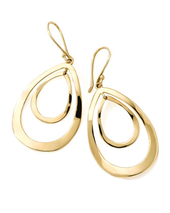 18K Gold Open Double Teardrop Earrings