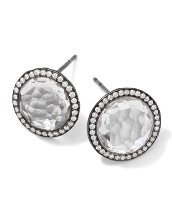 Notte Black Silver Stud Earrings in Clear Quartz & Diamonds