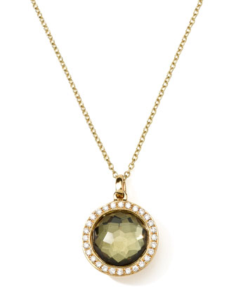 18K Gold Rock Candy Mini Lollipop Necklace in Pyrite & Diamonds