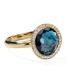 18k Gold Rock Candy Mini Lollipop Ring in London Blue Topaz & Diamond