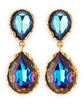 Large Crystal Teardrop Clip-On Earrings, Indigo
