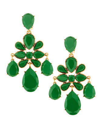 Faceted Chandelier Clip-On Earrings, Kelly Green