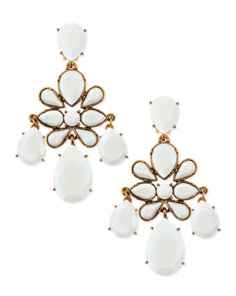 Faceted Chandelier Clip-On Earrings, White