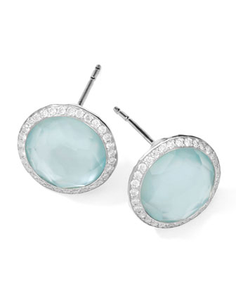 Stella Stud Earrings in Blue Topaz Doublet with Diamonds